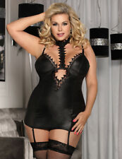 Black Wet Look Chemise with Lace Choker Neck & Suspenders Plus Size 16-18 20-22