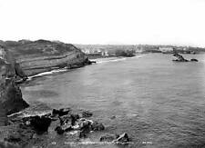 OLD PHOTO FRANCE Biarritz Panorama Of The Large Beach, Lighthouse c1900