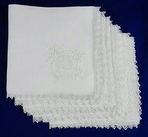 "7 Vtg. White Linen & Lace Beverage Napkins, Cutwork Embroidered Corners 14x14"""