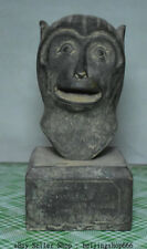 """6.6"""" Old Chinese Bronze Fengshui 12 Zodiac Yea Monkey Head Bust Statue Sculpture"""