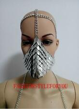 Fashion Style HE25 Women Silver Fish Scale Face Mask Head Chains Jewelry