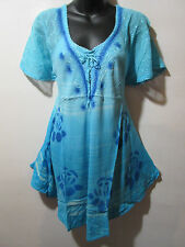 Top Fits L XL 1X Tunic Turquoise Blue Stamp Art Roses A Shaped Lace NWT G991