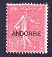 "ANDORRE FRANCAIS YVERT N° 15 "" SEMEUSE SUR FOND LIGNE 50c ROUGE "" NEUF x TB"