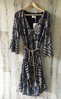 NWT $289 TJD The Jetset Diaries 'Bikanel' Midi Peasant Dress Hi Lo Belted Blue S