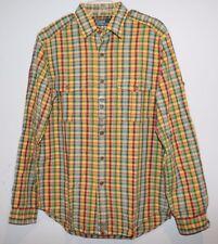 Polo Ralph Lauren Mens Yellow Red Plaid Cotton Linen Button-Front Shirt NEW S