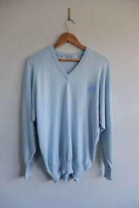 Vintage Burberry 80s pullover Thick cotton knit baby blue Burberrys L FITS M