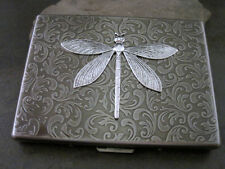 Handmade Antique Silver Embossed Steampunk Dragonfly Cigarette Case