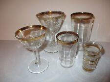 VINTAGE ~  FOSTORIA ROSALIE JUICE GLASSES WITH GOLD RIM ~ SET OF 7