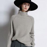Damen Kaschmir Rollkragenpullover Warm Strickpullover Pullover Loose Sweater