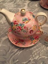 Grace's Teaware Tea for One Set Pink With Flowers ,Gold Trim New, Free Ship
