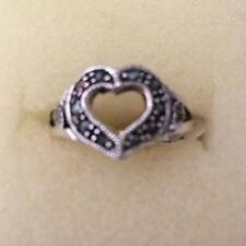 BEAUTIFUL MARCASITE HEART RING -  Great gift
