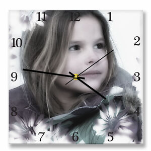 Personalized square wall clock with your own photo. Custom photo printed gift