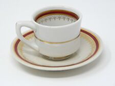 Jackson China Ivory Maroon Gold Expresso Demitasse Cup & Saucer Set Imperfect