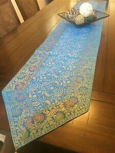 Table Runner/ Tapestry, Brocade,80 Inch, Silk, Beautiful, Formal, Paisley Blue