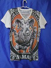 Men's V Neck Graphic Ganesh T Shirt, Asian Art Print, 100% Cotton,