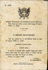 DECRETO MINISTERIALE - 1863 - M. Minghetti - Rif. 5 CC