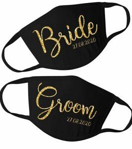 CUSTOM Bride & Groom Face Mask, 2 Matching Mr and Mrs Wedding Masks