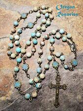 Aqua Variscite Gemstone Rosary, Czech Flowers, Bronze  #OR1845