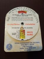 Vintage DRINK / DRIVE CALCULATOR TEXAS 70s Sheriff Blood Alcohol Drug Abuse