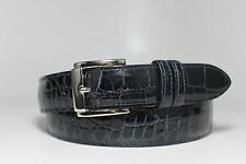 Genuine American Alligator Leather Belt:Navy Blue Glossy Custom made (Size32-44)