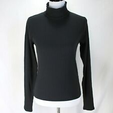 Abercrombie & Fitch Mock Turtleneck Top Size L Black Long Sleeve Ribbed Knit