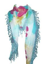 Chiffon triangle scarf with tassel trim butterfly or flowers