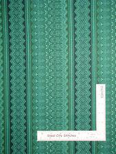 Belgian Geometric Stripe Grn #6711 Cotton Fabric Campbell & Fundora By The Yard