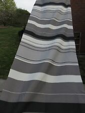 Grey cream black stripes crafts remnant fabric sewing material piece 160x50cm