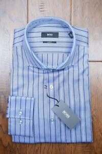 Hugo Boss Men's Jason Slim Fit Blue Striped Cotton Dress Shirt 41 16