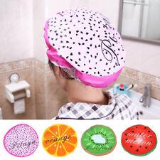 Women Shower Cap Fruit Printed Lace Bath Hair Cover Adult Waterproof Bathing Cap
