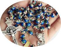 BLUE CLOISONNE ROSE BEADS ROSARY BEAD & ITALY CROSS CRUCIFIX CATHOLIC NECKLACE