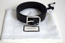 GUCCI Herren Damen Original Gürtel Leder schwarz - silber Größe 90