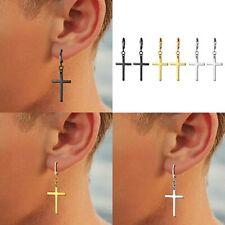 Stainless Steel Cross Dangle Hinged Huggie Stud Earrings for Mens Womens Teen