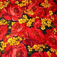 Gorgeous Bright Floral Print, Huge Red Roses on Black Cotton Fabric by  Benartex