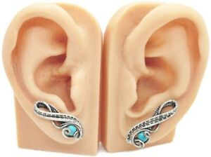 Pair of Turquoise and Sterling Silver Ear Pins