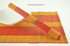 4 Tovagliette in bambù, stuoie di tabella fatte a mano, Rosso-arancio, P003