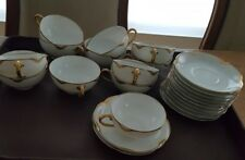 Haviland France Limoges White Gold Silver Anniversary Tea Cups/Saucers Lot 12.