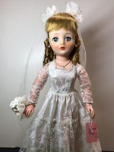 "17"" Vintage Horsman Cindy Vinyl Bendable Doll Original Bride Wedding Dress #Cc"
