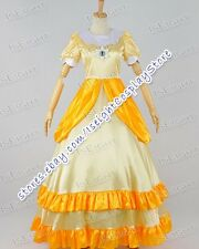 Super Mario Bros Cosplay Princess Daisy Yellow Girl Dress Costume Great Quality
