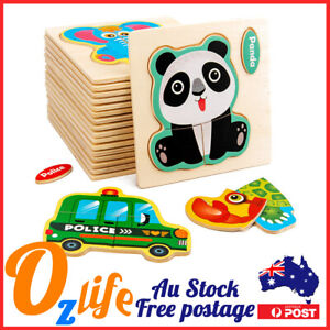 3-5Pcs Baby Early Learning Kids Wooden Puzzle Toddler Jigsaw 1-3 Yrs Old 10*10cm