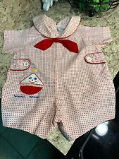 Vintage Tiny Tots Original Baby Red Dots Romper W/ Embroidery Size 6-12mo C41