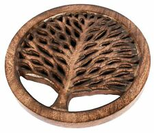 Hand-carved Mango Wood Trivet / Pan Pot Holder / Stand Tree of Life for Kitchen