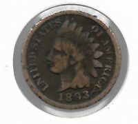 Rare Old Antique US 1893 Indian Head Penny Cent Collectible Collection Coin T47