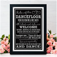 PERSONALISED Chalkboard DANCE FLOOR RULES Wedding Sign Band DJ SIGN