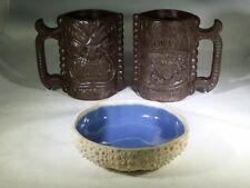 Hawaii Faux Wood Kona Coffee Mill Tiki God Mugs Bar Sea Urchin Nut Bowl Poi