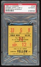 Pete Richert Win #12 First Shutout #1 1964 9/12/64 Dodgers Mets Ticket Stub PSA