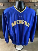 Nike Milwaukee Brewers MLB Baseball Lined Pullover Jacket Coat Mens Size Medium
