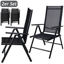 Set de 2 Sillas plegables para Jardín Balcón respaldo alto y ajustable Aluminio
