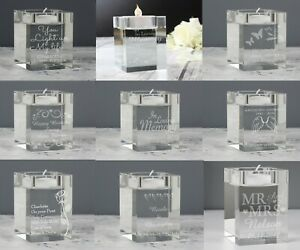 Personalised Glass Tealight Candle Holder Choice Of Design