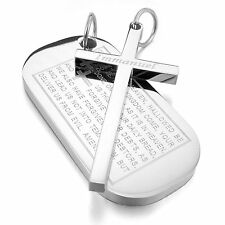 MENDINO Men's Stainless Steel Pendant Necklace Dog Tag Cross Bible Lords Prayer